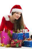 Christmas flicka och presenterar — Stockfoto