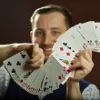 Playing cards jugglery — Stock Photo