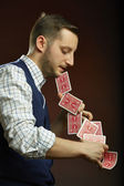 Skillful magician — Stock Photo