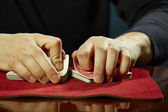 Hands and cards trick — Stock Photo