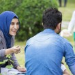 Socializing at Turkish festival — Stock Photo
