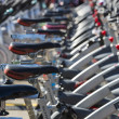 Stationary spinning bikes rows — Stock Photo