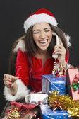 Funny phone call on Christmas — Stock Photo