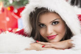 Portrait of beautiful woman Santa helper — Stock Photo