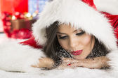 Santa Claus girl blowing snow — 图库照片