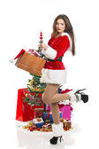 Sensual Santa girl with presents — Stok fotoğraf