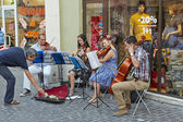 String quartet playing dowtown — Stock Photo
