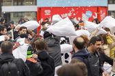 International pillow fight day — Stock Photo