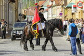 Horseman holding flag during Brasov Juni parade — Stock Photo