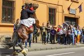 Stallion rearing with rider, Brasov, Romania — Stock Photo