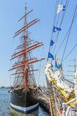 Anchored tall ship — Stock Photo