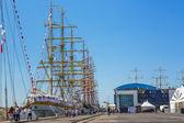 Anchored tall ships — Stock Photo