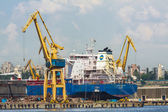 Freighter ship and cranes — Stock Photo