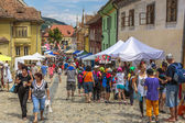Crowded street, Sighisoara, Romania — Stock Photo