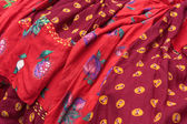 Traditional gipsy dresses fabrics — Stock Photo