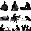 Foto de Stock  : Set of 9 freelancer