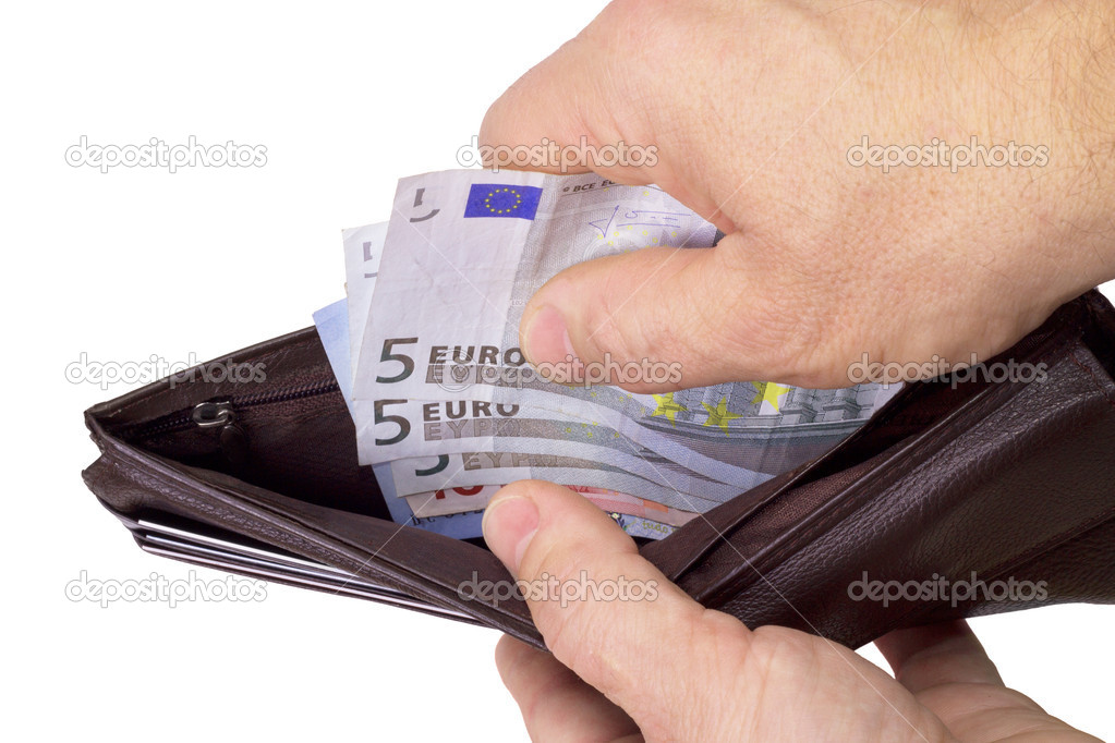 Human hand pulling money out of wallet (putting in) — Stock Photo #14831269