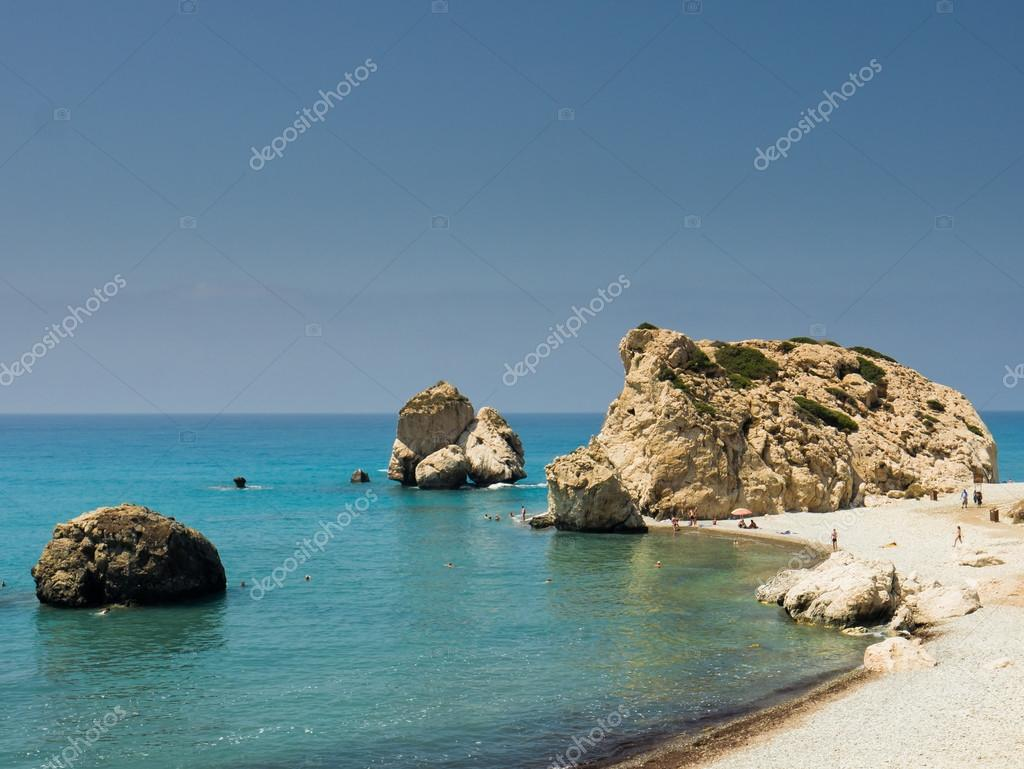 Aphrodites Rock, known also as Petra Tou Romiou, near Paphos, Cyprus. The rock is the legendary birthplace of the greek goddess Aphrodite. — Stock Photo #12418335