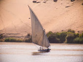 A felucca sailing on the river Nile in Egypt — Stock Photo