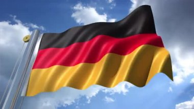 German Flag with blue sky background — Stock Video
