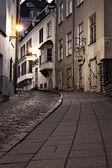 Old European sreet at night — Stock Photo