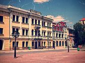 Vintage postcard of old euroupean city — Stock Photo
