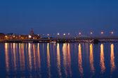 Illuminated bridge in Riga — Stock Photo