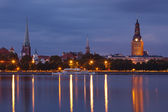 Night Riga cityscape — Stock Photo