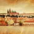 Vintage style panorama of old Prague — Stock Photo