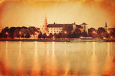 Retro style panorama of old Riga — Stock Photo