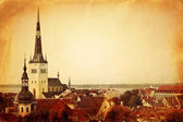 Vintage style panoramic view of Tallinn — Stock Photo