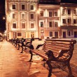 Night view of the old european town - Stock Photo