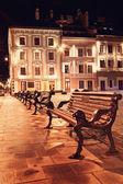 Vista notturna del centro storico europeo — Foto Stock