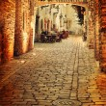 Old photo of european street — Stock Photo