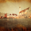 Retro style image of town hall square in Tallinn — Stock Photo