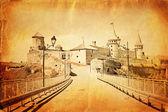 Vintage postcard of old castle — Stock Photo