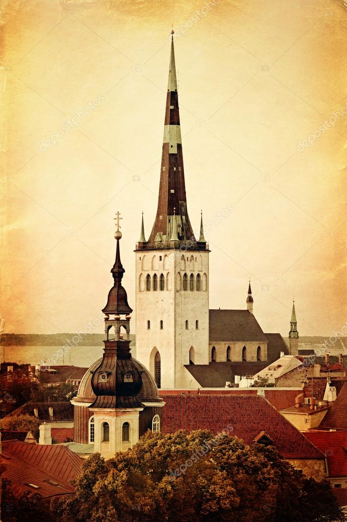 Retro image of St Olaf's Church, Tallinn, Estonia — Stock Photo #15897537