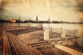 Old style evening Riga cityscape — Stock Photo