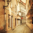 Retro style image of old european street — Stock Photo