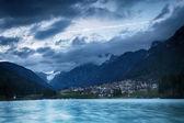 Lago di Auronzo (Lago Di Santa Caterina) at dusk — Stock Photo