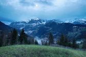 Foggy morning in Dolomites mountains — Stock Photo