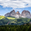 Panorama of Sassolungo mountain peaks — Stock Photo #30387697