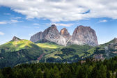 Panorama of Sassolungo mountain peaks — Stock Photo