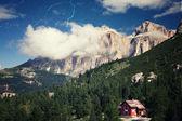 Retro style image of Alpine landscape — Stock Photo