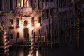 Painting style image of Venice canal at night — Stockfoto
