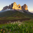 Stock Photo: Sassolungo mountain peaks at sunrise