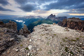 Cloudy and foggy sunrise at Dolomites mountains — Stock Photo
