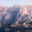 Panoramic view of Dolomites mountains ridge — Stock Photo
