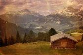 Vintage style image of mountain valley — Stock Photo