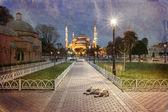 Vintage foto van sultanahmet blauwe moskee — Stockfoto